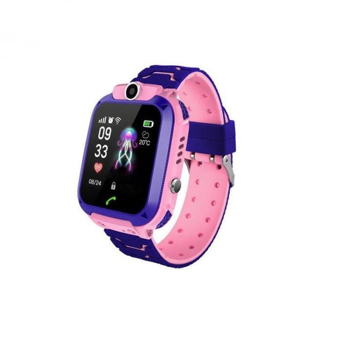 Ceas smartwatch copii GPS Q12, rezistent la apa, telefon, touchscreen, foto, monitorizare spion, buton SOS, roz 1